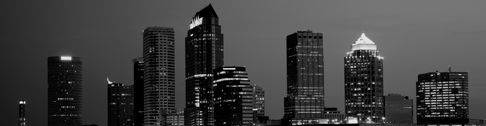 Picture of downtown Tampa skyline in black and white