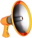 Picture of orange bullhorn with silver insides