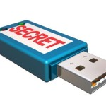 "Picture of blue USB/Flash drive with the word ""SECRET"" in red"